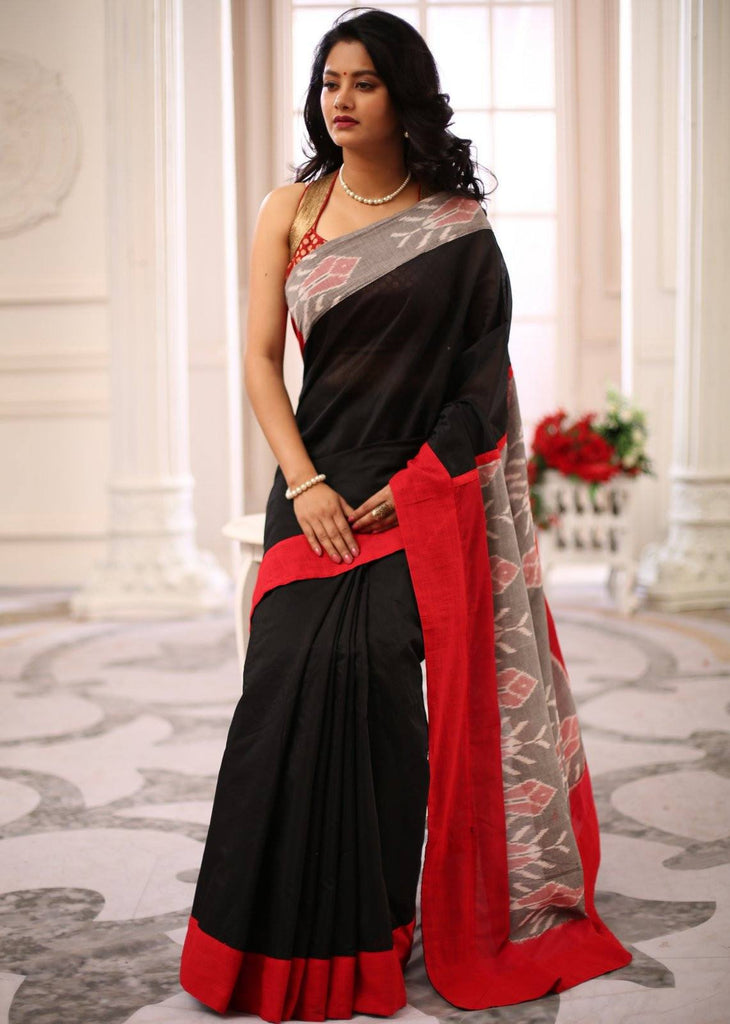 Saree - Black Chanderi Saree With Exclusive Ikat Dyed Pallu And Border