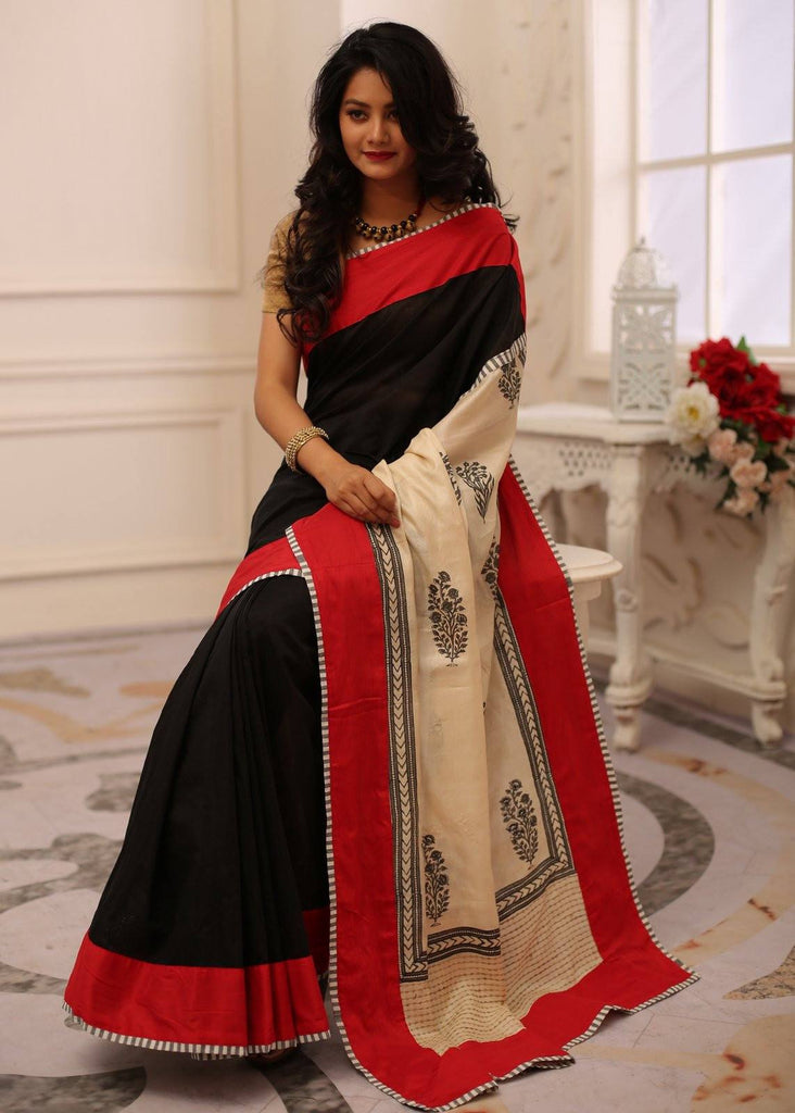 Saree - Black Chanderi Saree With Exclusive Pure Tussar Silk Printed Pallu