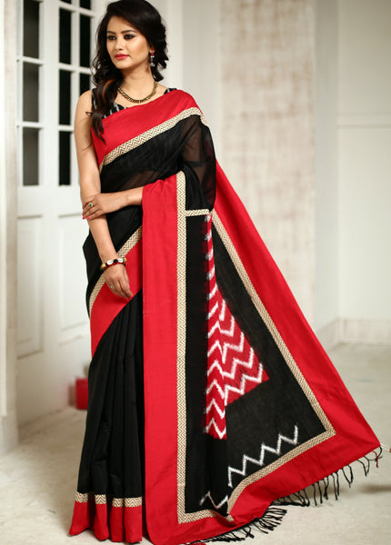 Saree - Black Chanderi Saree With Ikat Work Pallu