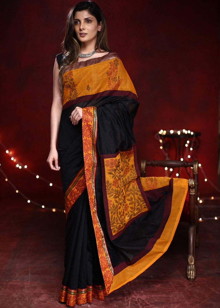 Saree - Black Chanderi Saree With Mustard Dhakai Border And Patch On Pallu With Zari Border