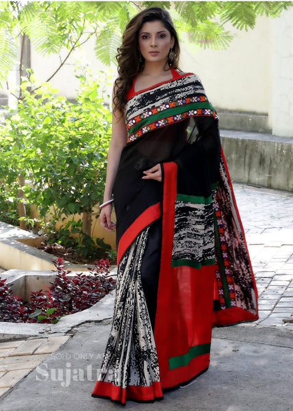 Saree - Black Chanderi Saree With Printed Pleats And Embroidered Border