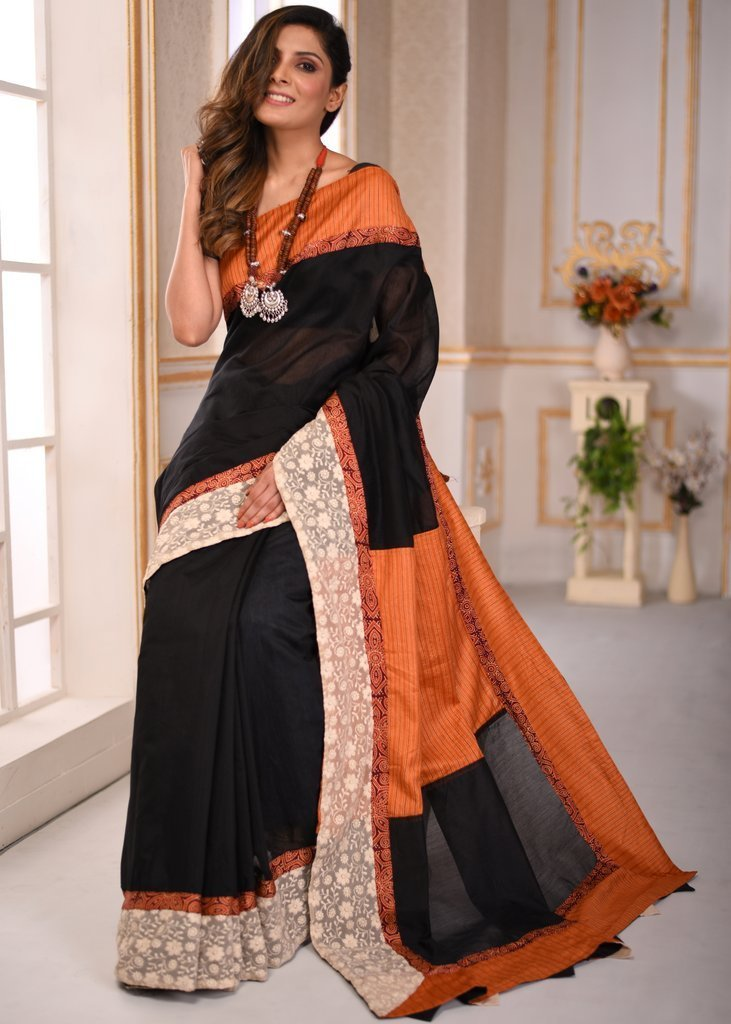 Saree - Black Chanderi Saree With Striped Silk And Embroidered Border