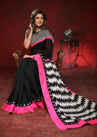 Black chanderi saree with zari work in front and ikat pallu