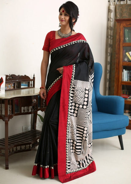 Saree - Black Chanderi With Abstract Printed Cotton Pallu