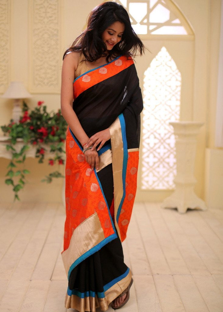 Saree - Black Chanderi With Embroidered Orange Pallu