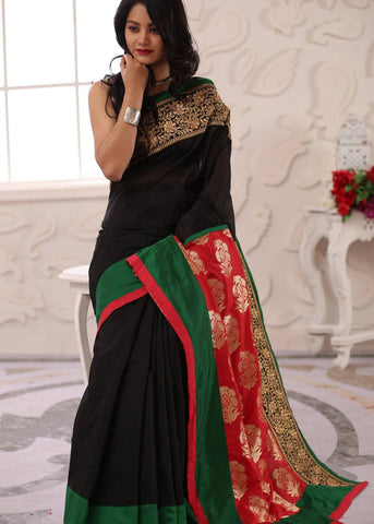 Black chanderi with exquisite zari border & banarasi pallu saree