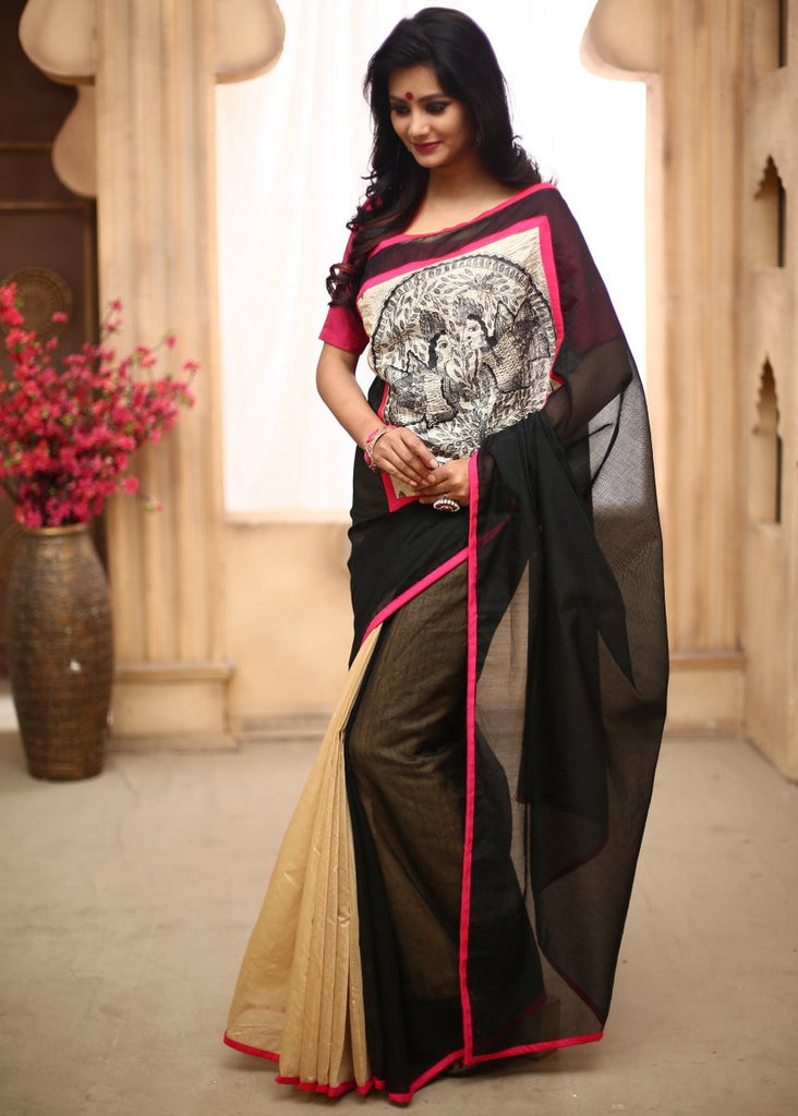 Saree - Black Chanderi With Hand Painted Madhubani Work In Front With Beige Chanderi On Pleats