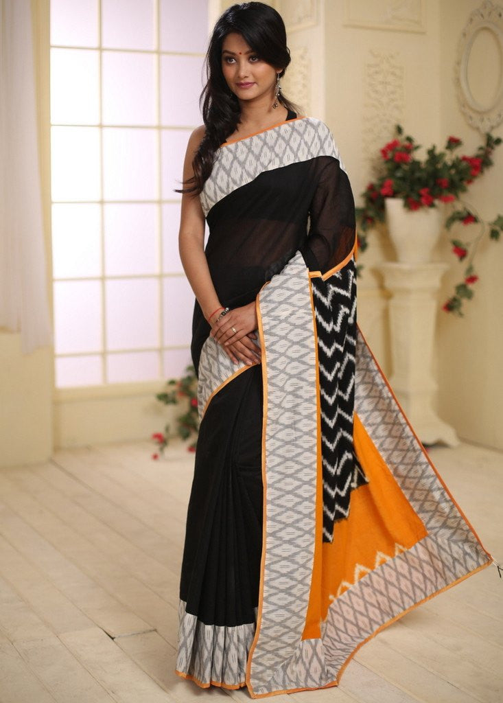 Saree - Black Chanderi With Ikat Pallu And Border