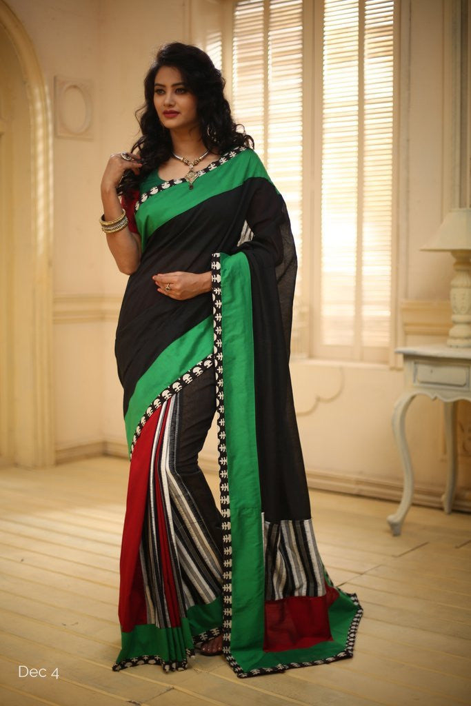 Saree - Black Chanderi With Ikat Stripes On Pleats And Pallu