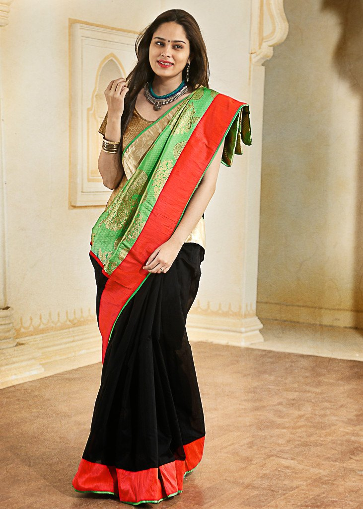 Black chanderi with parrot green pure banarasi silk pallu - Sujatra