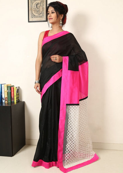 Saree - Black Chanderi With Pink Cotton Silk & Net Work On Pallu