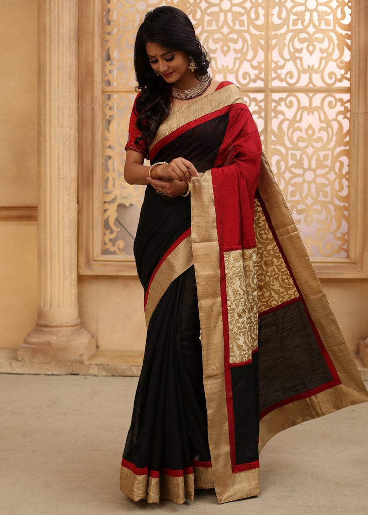 Saree - Black Chanderi With Zari Border & Elegant Embroidered Zari Work On Pallu