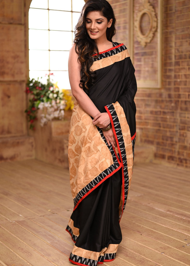 Saree - Black Cotton Saree With Exclusive Printed & Ikat Combination Pallu