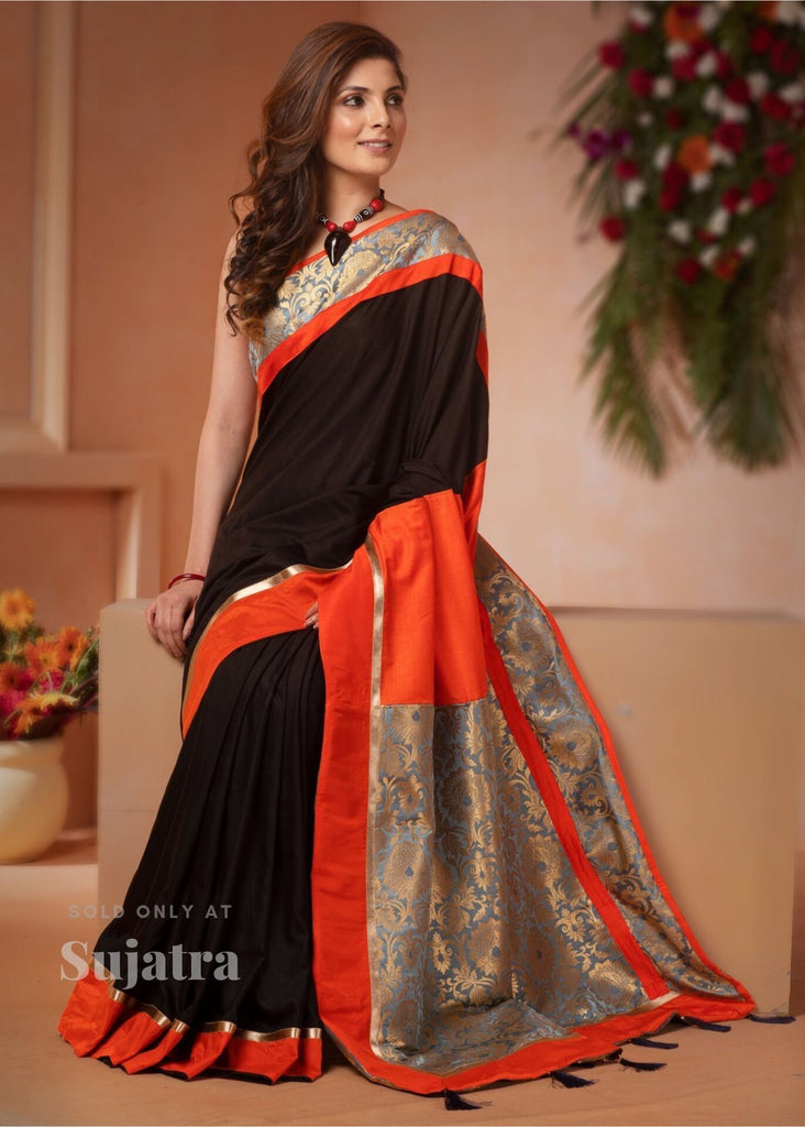 Saree - Black Faux Crepe Saree With Benarasi Pallu & Border