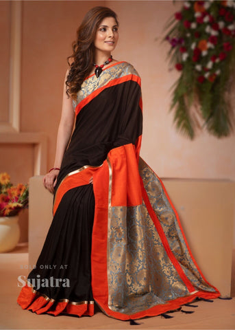 Black faux crepe saree with benarasi pallu & border