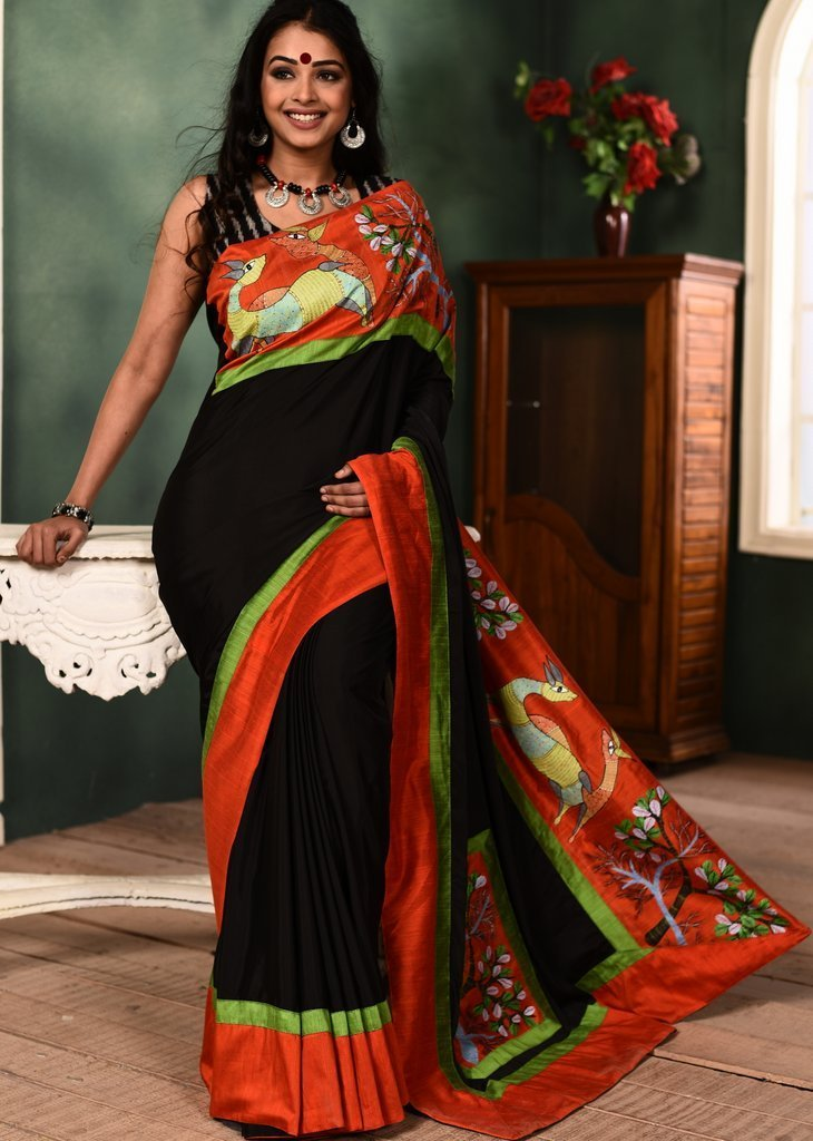 Saree - Black French Crepe Saree With Hand Painted Gond Tribal Art Border