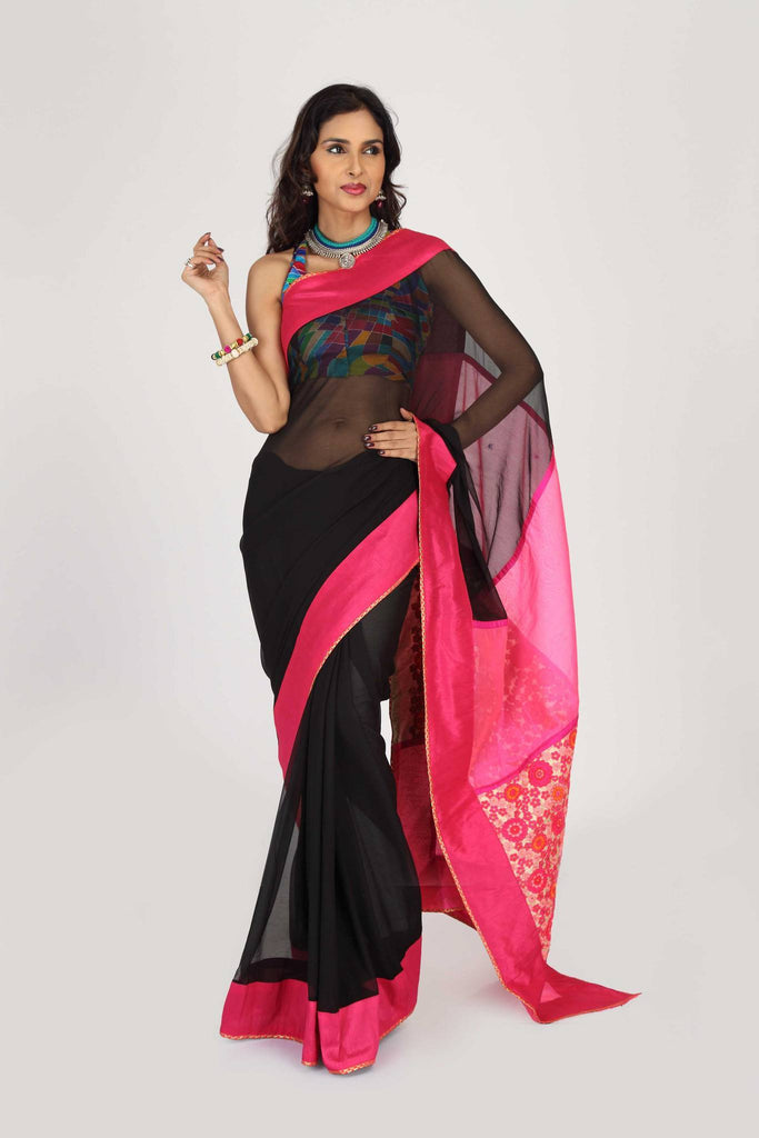 Saree - Black Georgette With Pink Embroidered Pallu & Border
