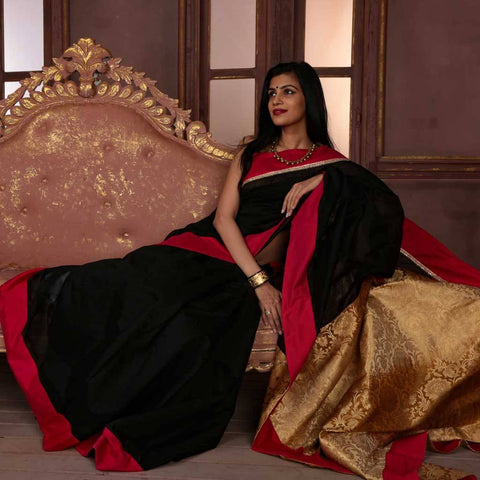 Black Chanderi with pure benarasi pallu