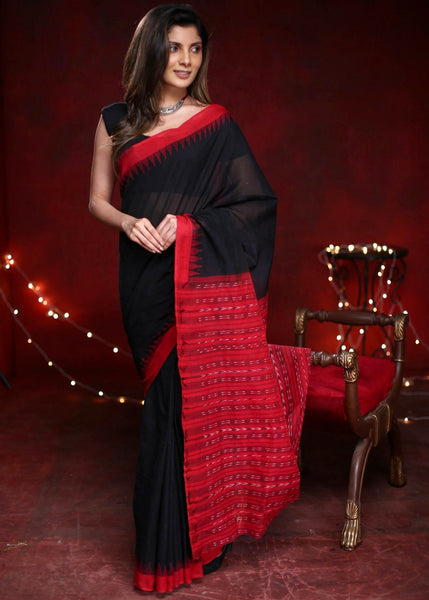 Saree - Black Handloom Cotton Sambalpuri Ikat Saree