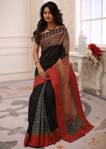 Black chanderi saree with exclusive dabu hand printed silk pallu & border