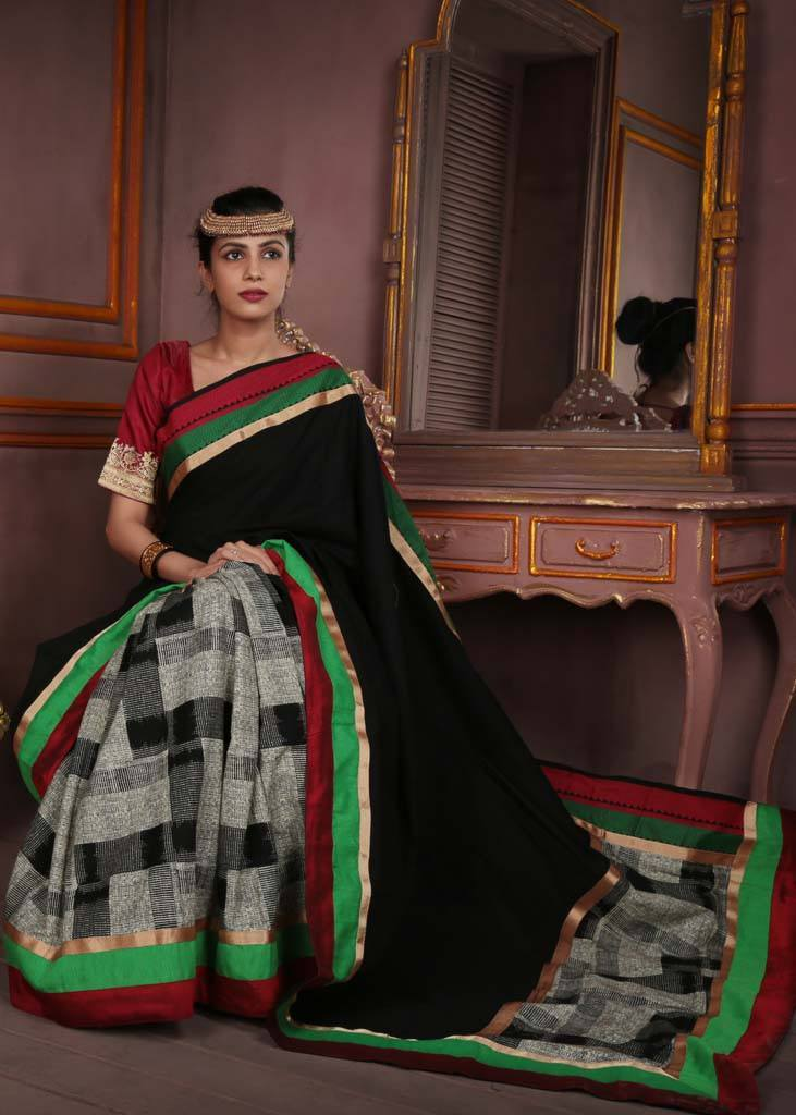 Saree - Black Handloom Cotton With Printed Jute And Green & Red Border