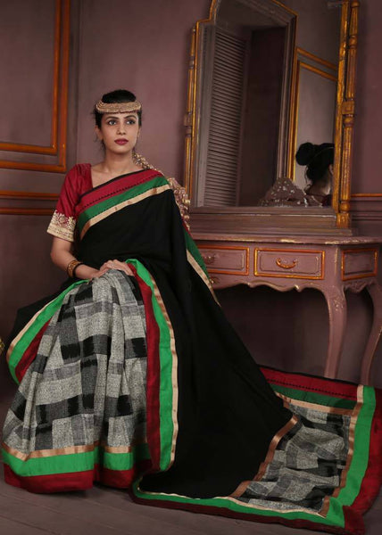 Black handloom cotton with printed jute and green & red border - Sujatra
