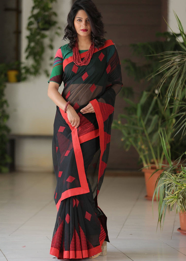 Black Kota saree with benarasi work - Sujatra