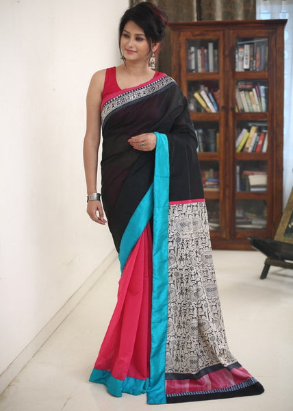 Saree - Black & Pink Chanderi Combination With Printed Pure Silk Pallu With Warli Art