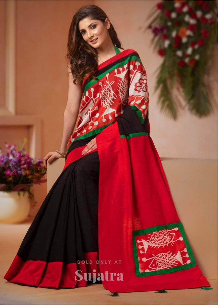 Saree - Black Semi Silk Saree With Batik Work Combination