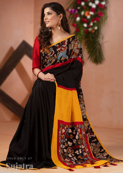 Saree - Black Semi Silk Saree With Hand Painted Kalamkari Border