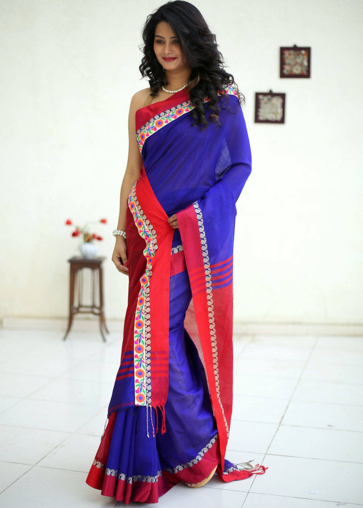 Saree - Blue Bengal Handloom Cotton Saree With Elegant Lace Border
