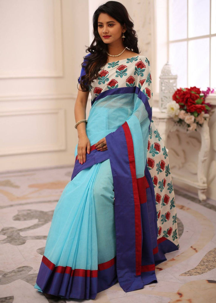 Saree - Blue Bengali Handloom Cotton Saree With Exclusive Printed Border