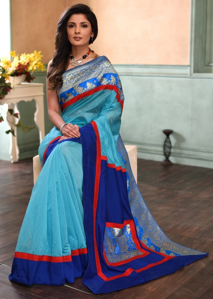 Saree - Blue Chanderi Saree With Benarasi Border