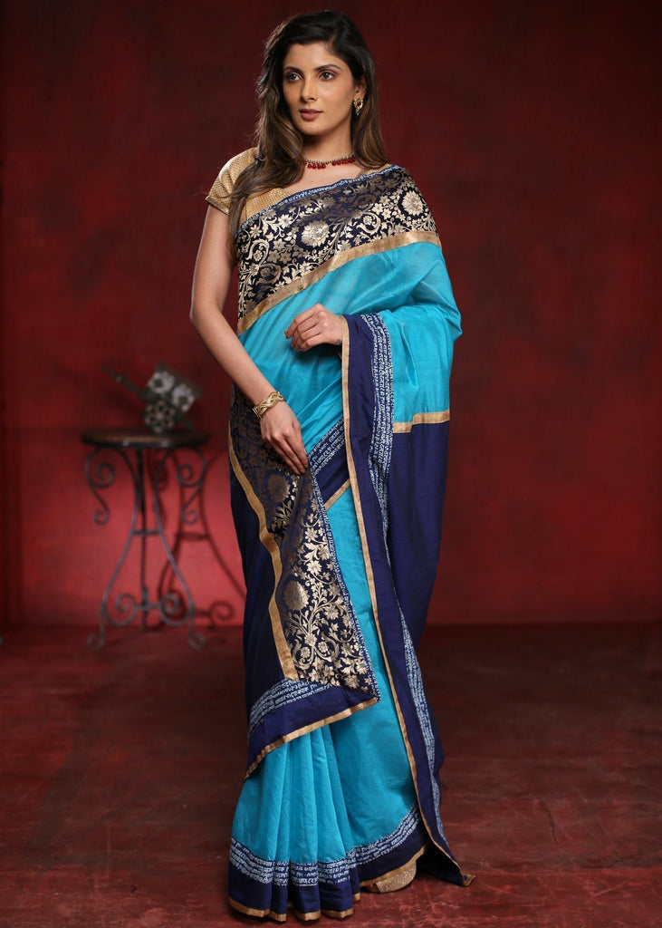 Blue chanderi saree with exclusive benarasi border with mantra print combination - Sujatra