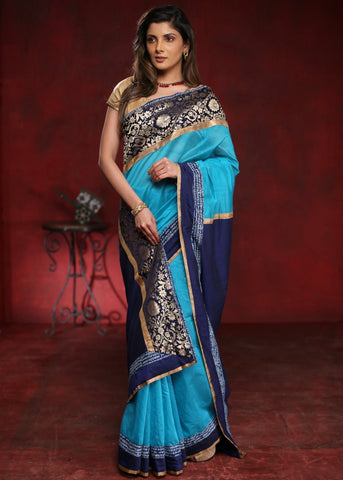 Blue chanderi saree with exclusive benarasi border with mantra print combination