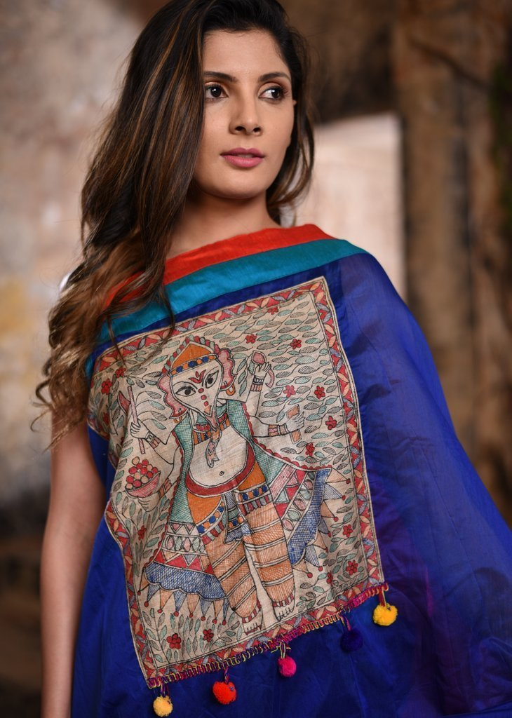 Saree - Blue Chanderi Saree With Exclusive Hand Painted Madhubani Work