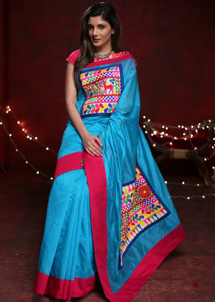 Saree - Blue Chanderi Saree With Exlclusive Embroidered Patch On Pallu And Front