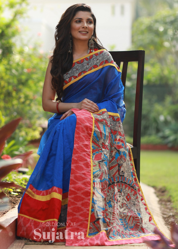 Saree - Blue Chanderi Saree With Intricate Madhubani Painting & Ikat Border