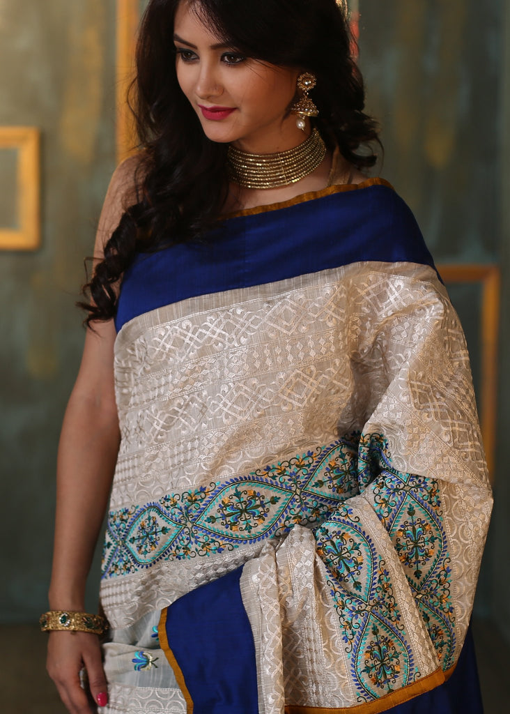 Saree - Blue Chanderi Saree With Unique Embroidered Work