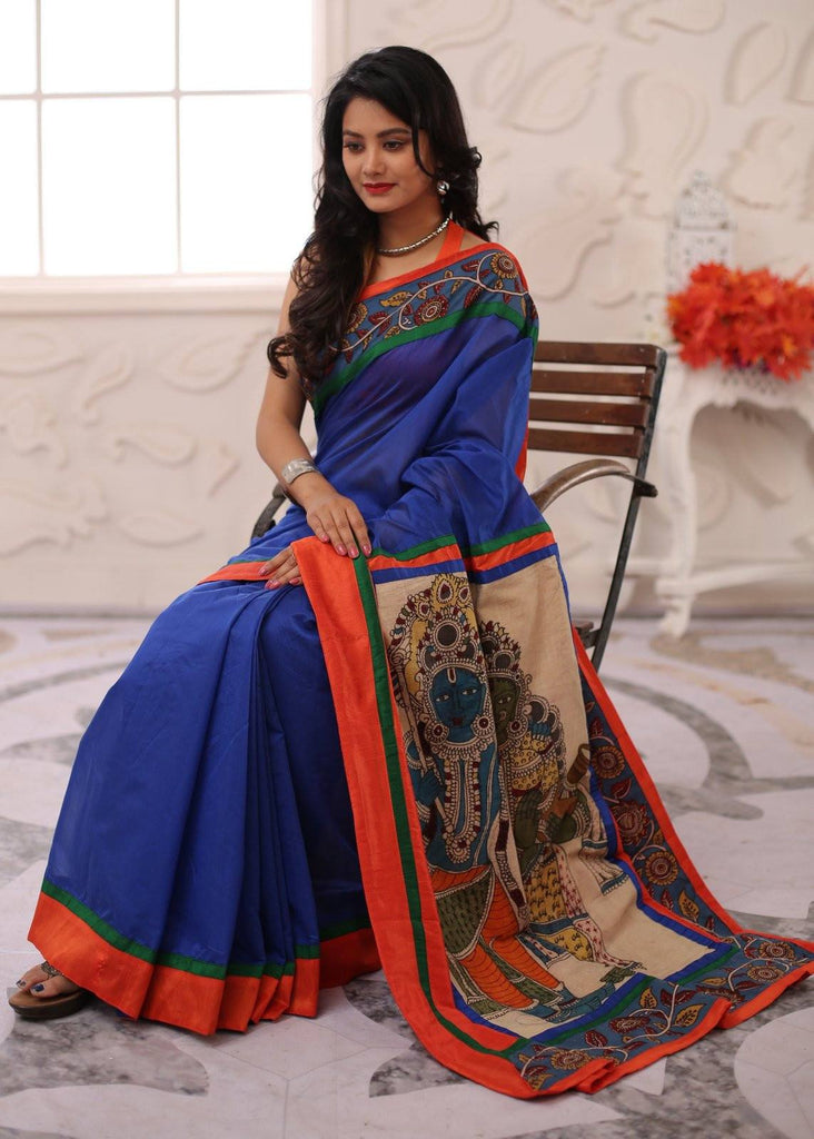 Saree - Blue Chanderi With Hand Painted Kalamkari Painting Pallu And Border