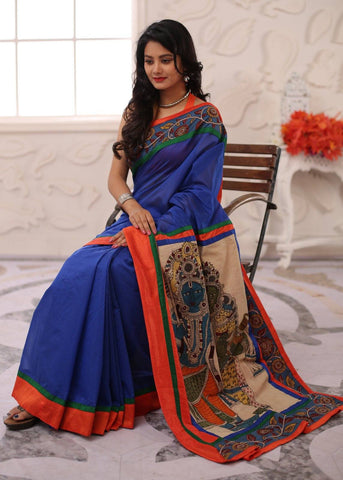 Blue chanderi with hand painted kalamkari painting pallu and border