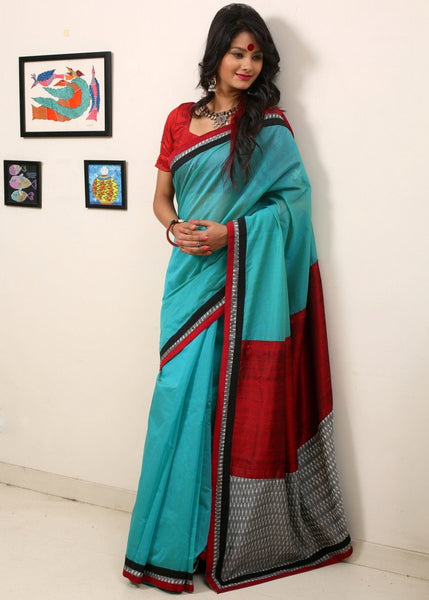 Saree - Blue Chanderi With Ikat & Cotton Silk Pallu