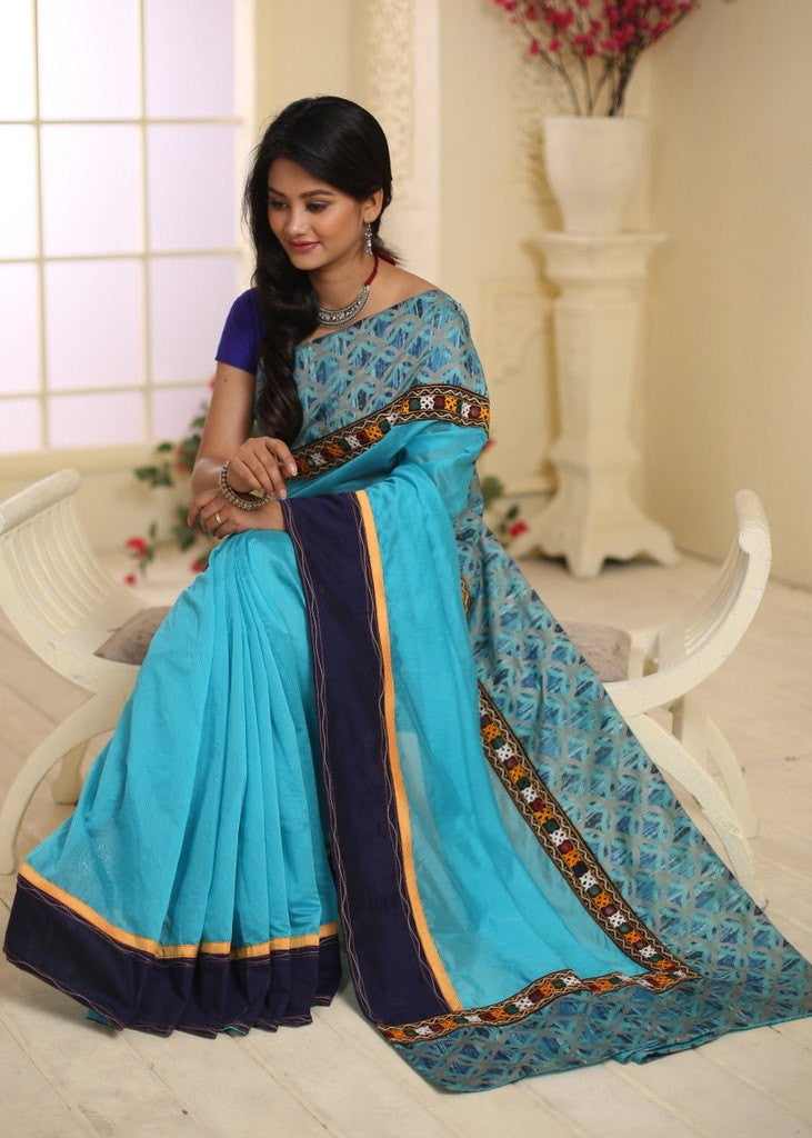 Saree - Blue Chanderi With Mirror Work And Printed Cotton Border