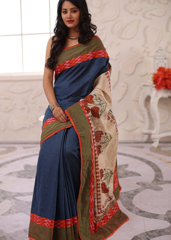 Blue handloom cotton with printed pure silk pallu & ikat border saree