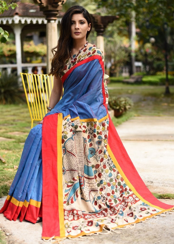 Saree - Blue Slub Chanderi Saree With Hand Painted Kalamkari Pallu
