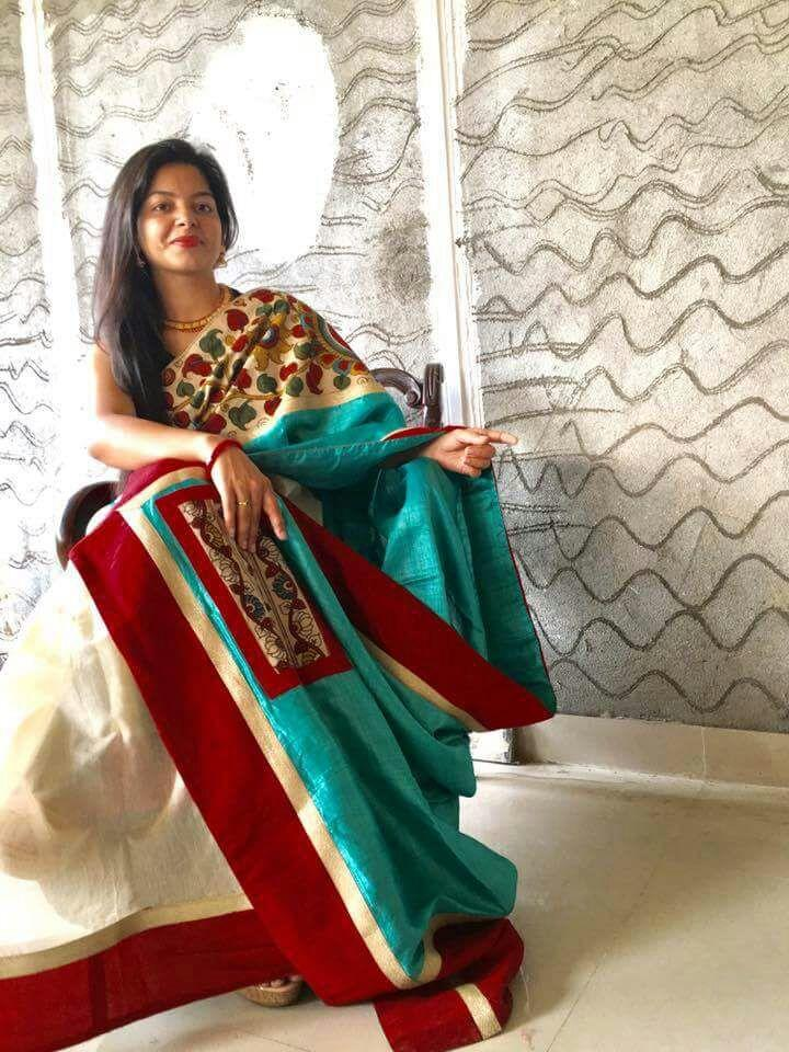 Saree - Blue Tasar Silk With Hand Painted Kalamkari Work And Chanderi Pleats