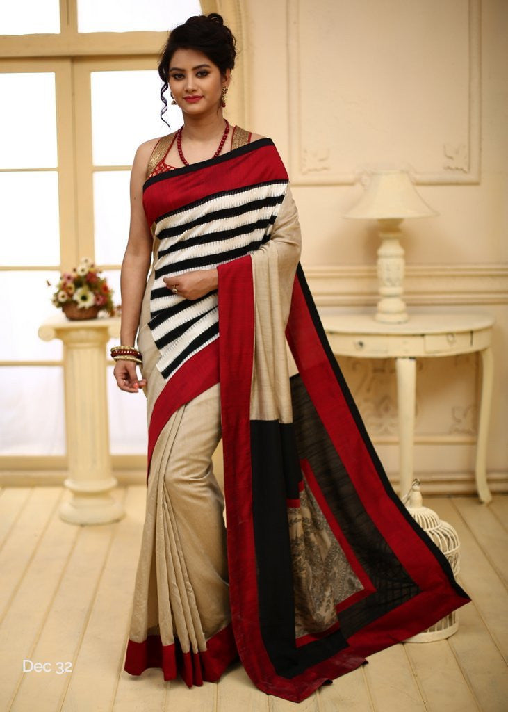 Saree - Brown Cotton Silk With Striped Ikat With Hand Painted Madhubani Patch On Pallu