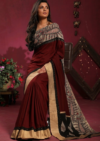 Saree - Brown Crepe Satin Saree With Hand Painted Madhubani Border
