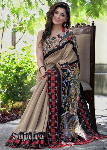 Saree - Brown Handloom Cotton Saree With Hand Painted Kalamkari Pallu & Ikat Border