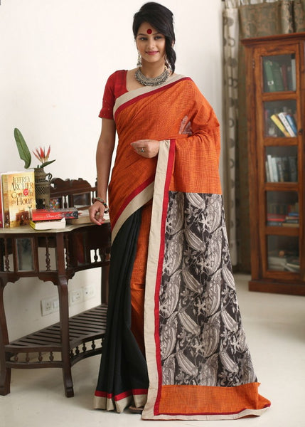 Saree - Brown Handloom Cotton With Black Chanderi Pleats & Rajasthani Printed Cotton Pallu